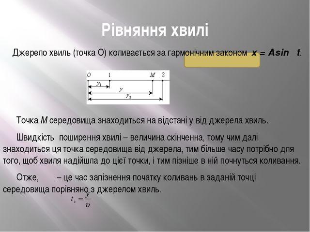 Рівняння хвилі Джерело хвиль (точка О) коливається за гармонічним законом x...
