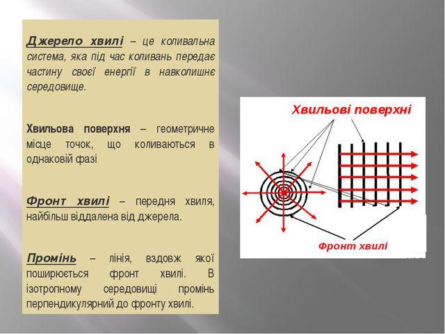 Джерело хвилі – це коливальна система, яка під час коливань передає частину...
