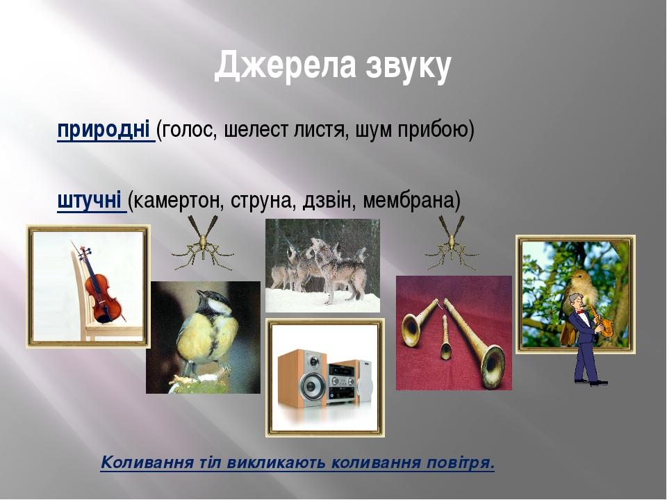 Джерела звуку природні (голос, шелест листя, шум прибою) штучні(камертон, ст...