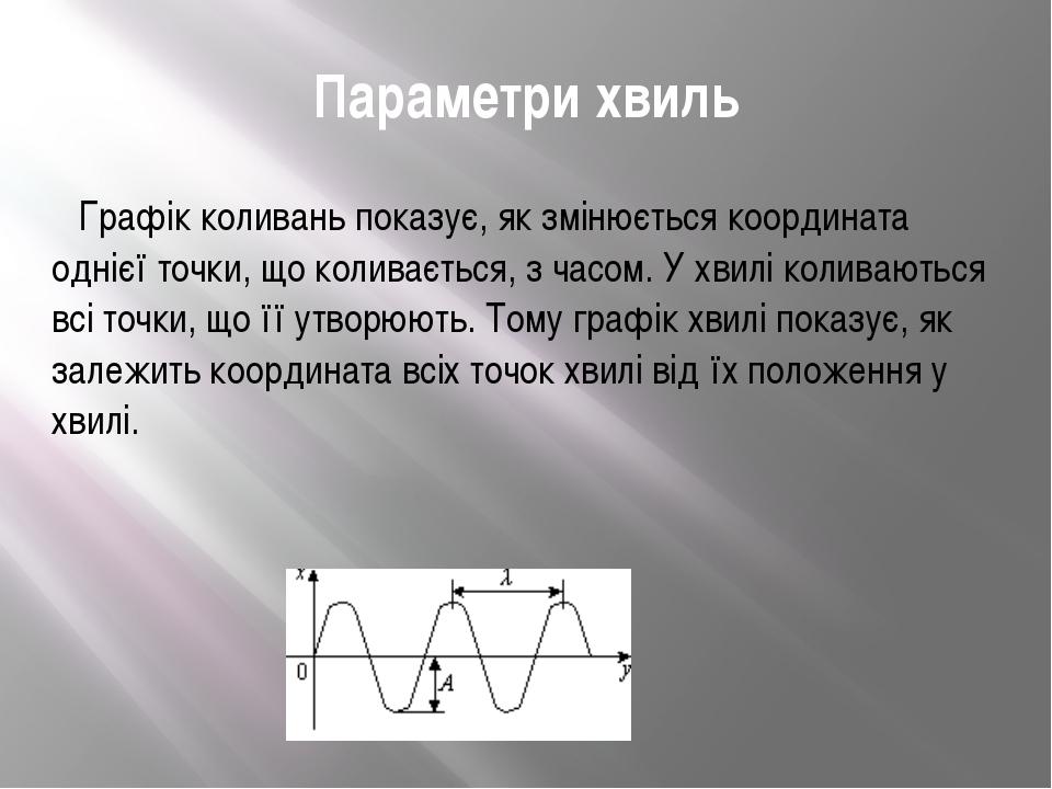 Параметри хвиль  Графік коливань показує, як змінюється координата однієї то...