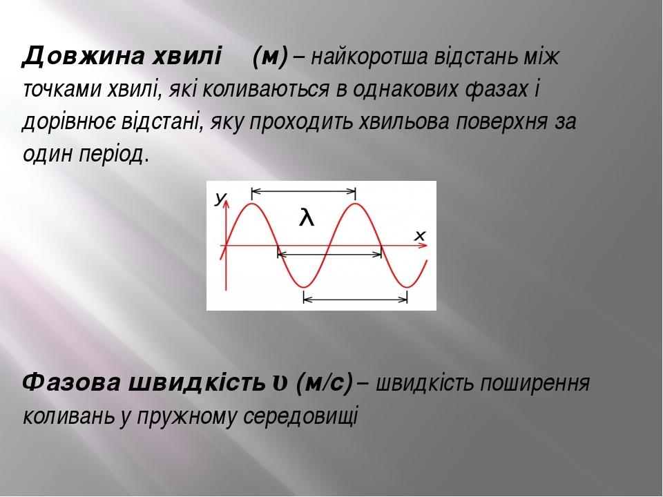 Довжина хвилі λ (м) – найкоротша відстань між точками хвилі, які коливаються...