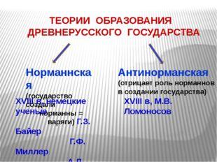 ТЕОРИИ ОБРАЗОВАНИЯ ДРЕВНЕРУССКОГО ГОСУДАРСТВА Норманнская (государство созда