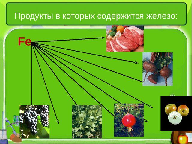 Продукты в которых содержится железо: Fe
