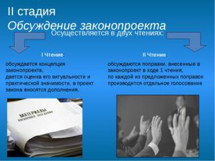 II стадия Обсуждение законопроекта I Чтение: обсуждается концепция законопрое