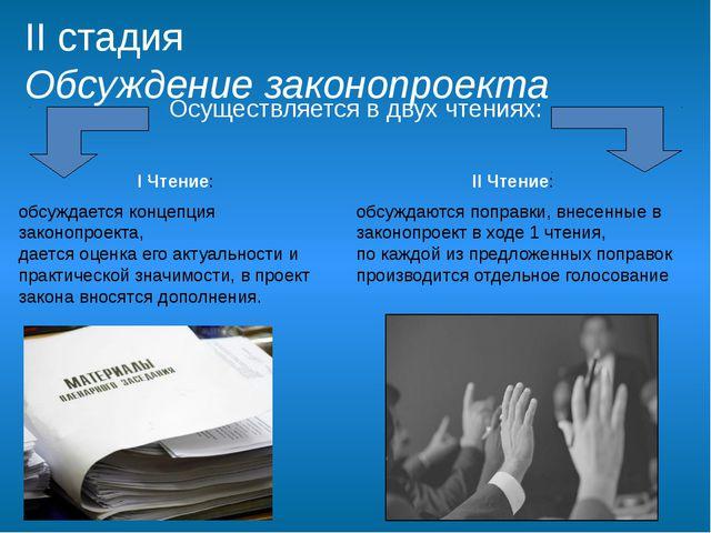 II стадия Обсуждение законопроекта I Чтение: обсуждается концепция законопрое...