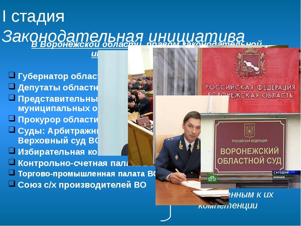 В Воронежской области правом законодательной инициативы обладают: Губернатор...