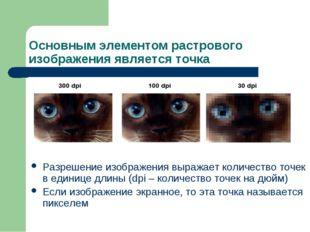 Основным элементом растрового изображения является точка Разрешение изображен
