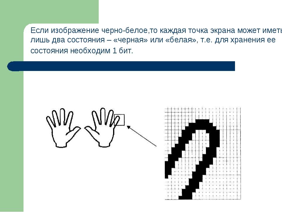 Если изображение черно-белое,то каждая точка экрана может иметь лишь два сост...