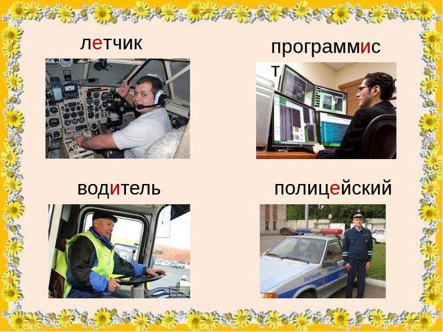 летчик программист водитель полицейский