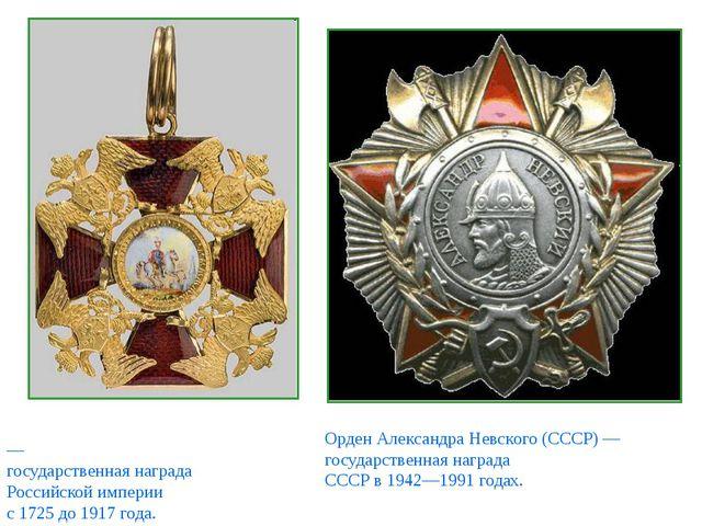 О́рден Святого Алекса́ндра Не́вского — государственная награда Российской имп...