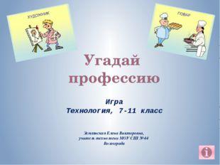 Угадай профессию Землянская Елена Викторовна, учитель технологии МОУ СШ № 44