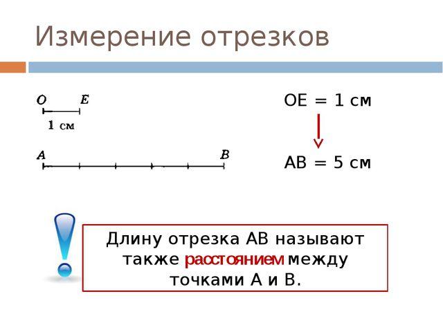 Измерение отрезков ОE = 1 см АВ = 5 см Длину отрезка АВ называют также рассто...