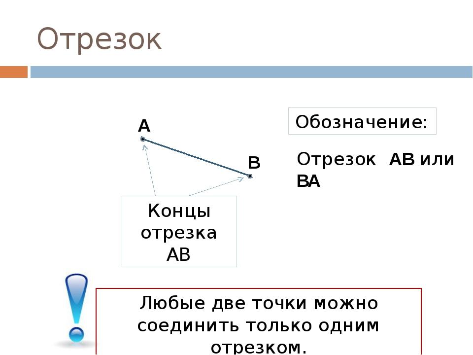 Отрезок А В Концы отрезка АВ Обозначение: Отрезок АВ или ВА Любые две точки м...