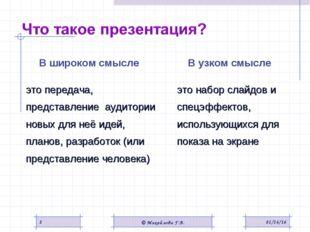 В узком смысле это набор слайдов и спецэффектов, использующихся для показа н