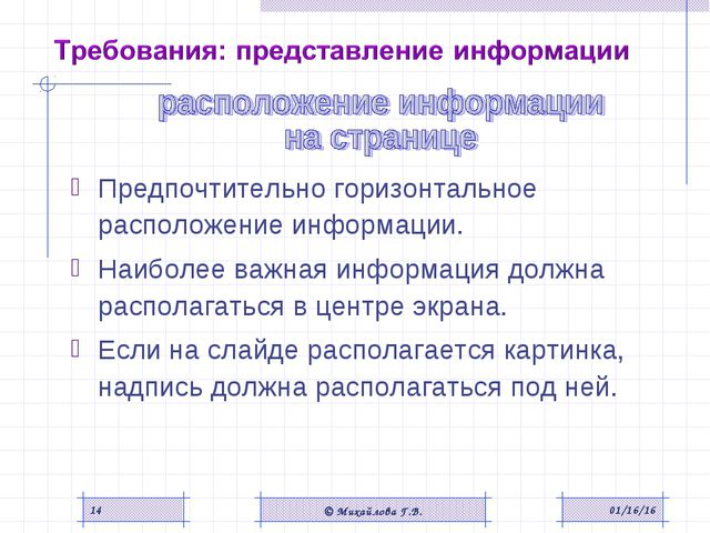 * © Михайлова Г.В. * Предпочтительно горизонтальное расположение информации....