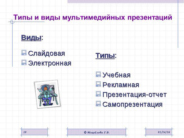 Виды: Слайдовая Электронная Типы: Учебная Рекламная Презентация-отчет Самопре...