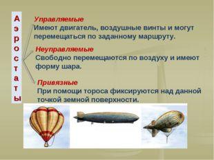 Аэростаты Неуправляемые Свободно перемещаются по воздуху и имеют форму шара.