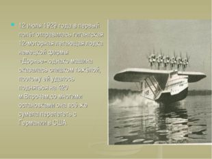 12 июля 1929 года в первый полёт отправилась гигантская 12-моторная летающая