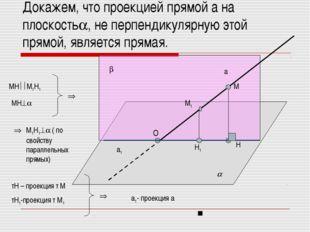 Докажем, что проекцией прямой а на плоскость, не перпендикулярную этой прямо