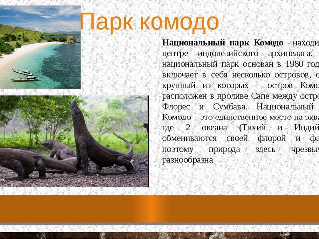 Парк комодо Национальный парк Комодо -находится в центре индонезийского архи...