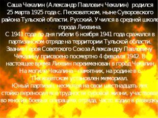 Саша Чекалин(Александр Павлович Чекалин)родился 25 марта 1925 года с. Пес