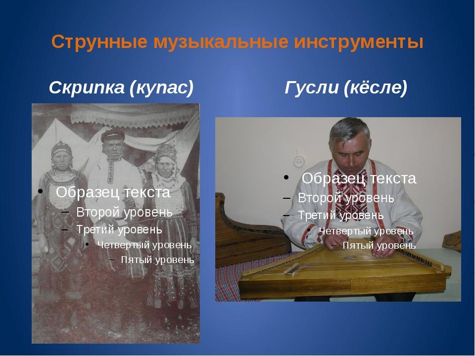 Струнные музыкальные инструменты Скрипка (купас) Гусли (кёсле)
