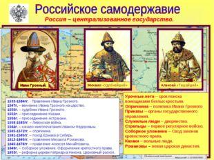 Иван Грозный. Михаил «Удобнейший» Алексей «Тишайший». 1533-1584гг. - Правлени