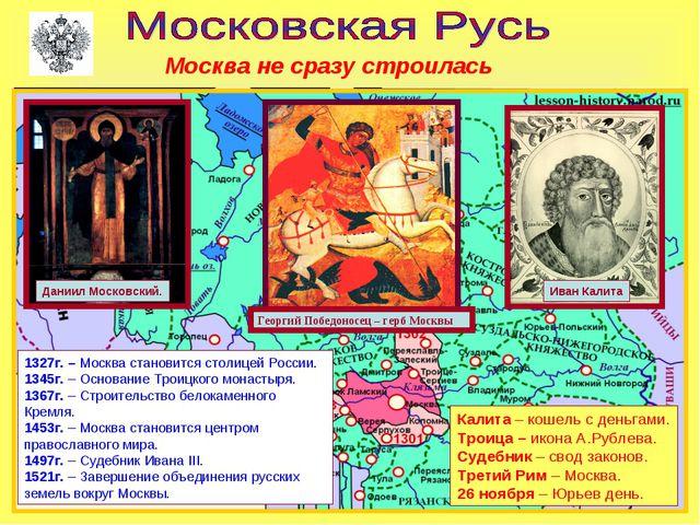 Москва не сразу строилась Георгий Победоносец – герб Москвы Даниил Московский...