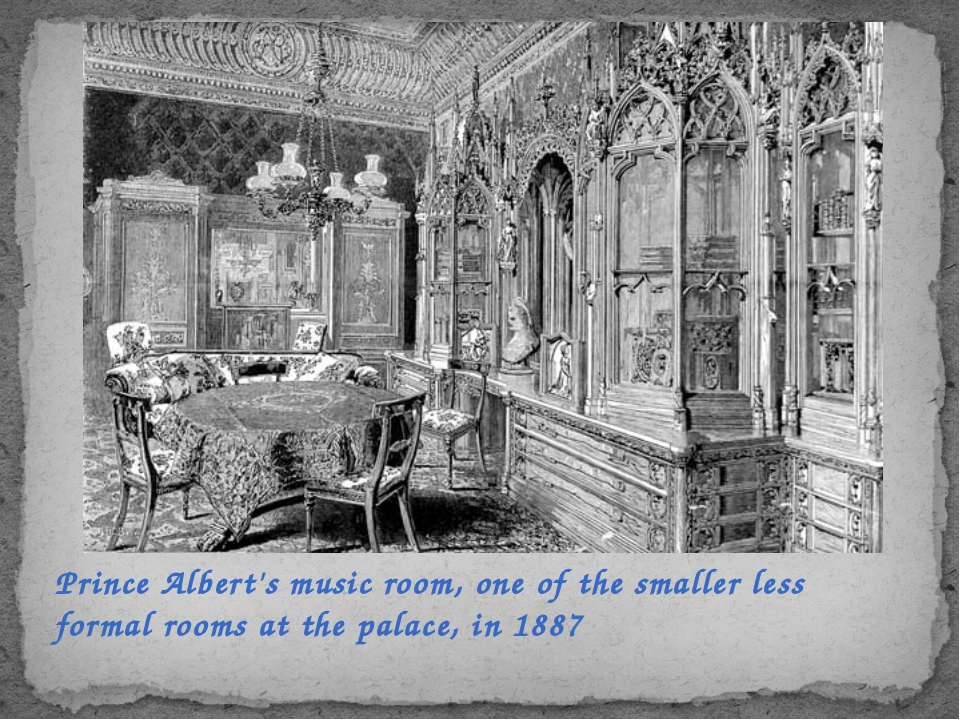 Prince Albert's music room, one of the smaller less formal rooms at the palac...