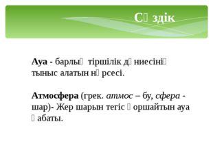 Ауа - барлық тіршілік дүниесінің тыныс алатын нәрсесі. Атмосфера (грек. атмо