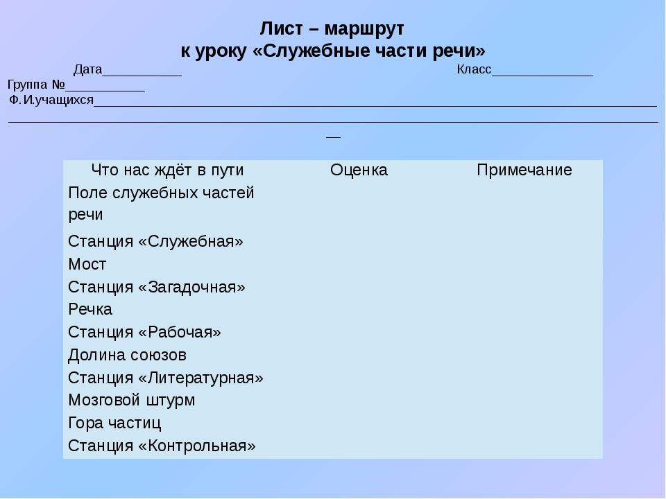 Лист – маршрут к уроку «Служебные части речи» Дата___________ Класс__________...