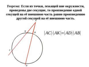 Теорема: Если из точки, лежащей вне окружности, проведены две секущие, то пр