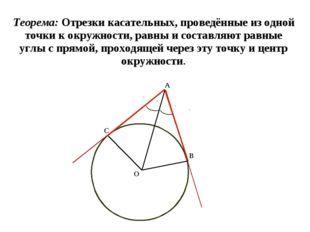 Теорема: Отрезки касательных, проведённые из одной точки к окружности, равны