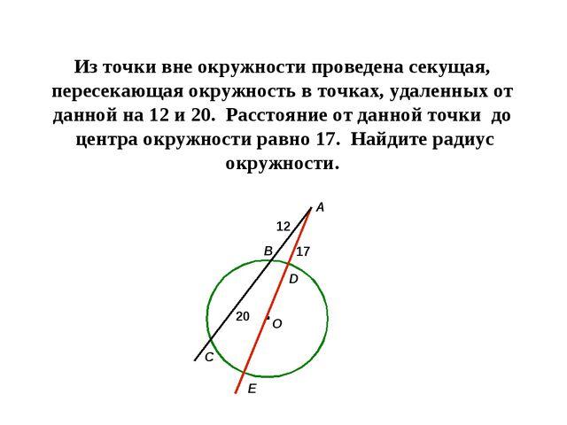 Из точки вне окружности проведена секущая, пересекающая окружность в точках,...