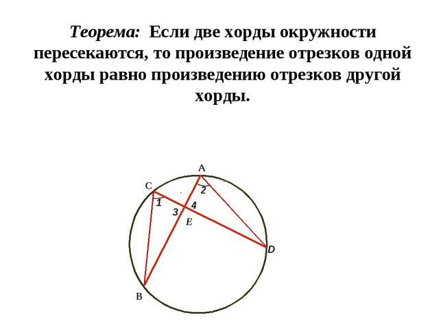 Теорема: Если две хорды окружности пересекаются, то произведение отрезков одн...