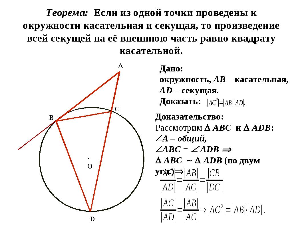 Теорема: Если из одной точки проведены к окружности касательная и секущая, т...