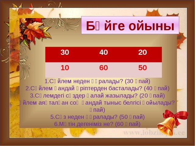 1.Сөйлем неден құралады? (30 ұпай) 2.Сөйлем қандай әріптерден басталады? (40...