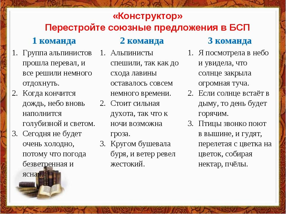 «Конструктор» Перестройте союзные предложения в БСП 1 команда2 команда3 ком...