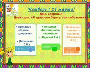Четверг ( 24 марта) День здоровья Девиз дня: «Я здоровье берегу, сам себе по