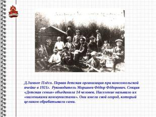 Д.Зимнее Плёсо. Первая детская организация при комсомольской ячейке в 1921г.