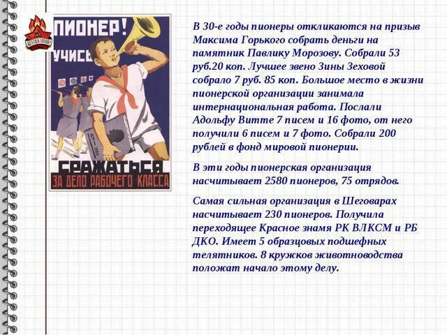 В 30-е годы пионеры откликаются на призыв Максима Горького собрать деньги на...