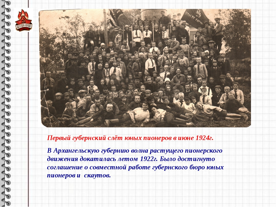 Первый губернский слёт юных пионеров в июне 1924г. В Архангельскую губернию в...