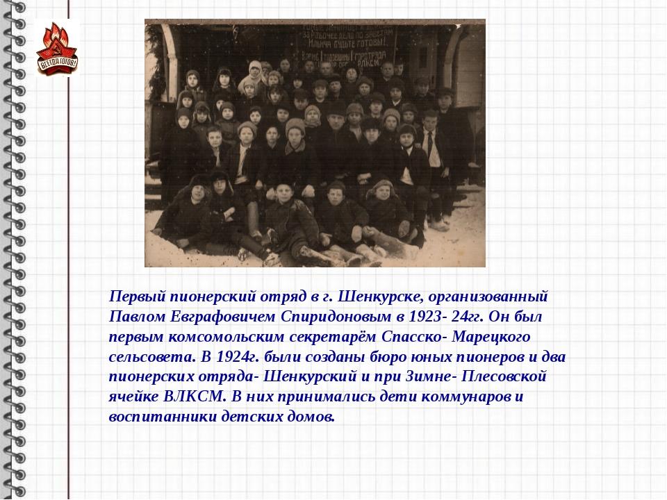 Первый пионерский отряд в г. Шенкурске, организованный Павлом Евграфовичем Сп...