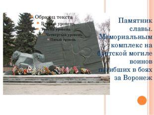 Памятник славы. Мемориальным комплекс на братской могиле воинов погибших в б