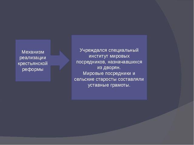 Механизм реализации крестьянской реформы Учреждался специальный институт мир...