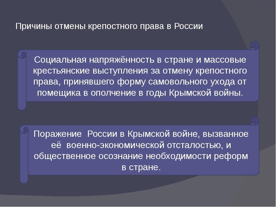 Причины отмены крепостного права в России Социальная напряжённость в стране и...