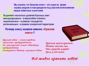 Красная книга Мы узнали, что Красная книга – это одна из форм охраны редких и