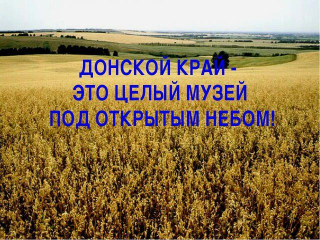 ДОНСКОЙ КРАЙ - ЭТО ЦЕЛЫЙ МУЗЕЙ ПОД ОТКРЫТЫМ НЕБОМ!