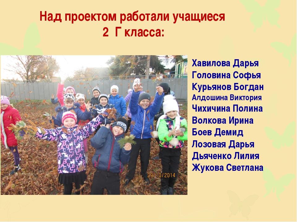 Над проектом работали учащиеся 2 Г класса: Хавилова Дарья Головина Софья Курь...