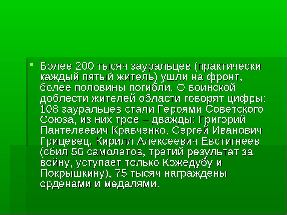 Более 200 тысяч зауральцев (практически каждый пятый житель) ушли на фронт, б...